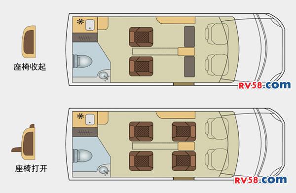 诺优进口依维柯B 商旅型A 平面图