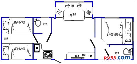 嵘野8米单拓双卧双卫版平面图