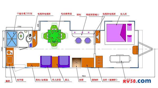 中天露营地用拖挂套间平面图