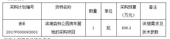 进贤县滨湖森林公园房车营地的采购项目电子化公开招标公告