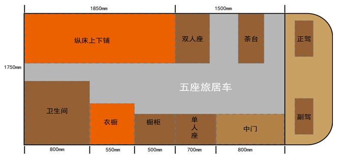 亚星欧睿房车5座版(停售) 平面图