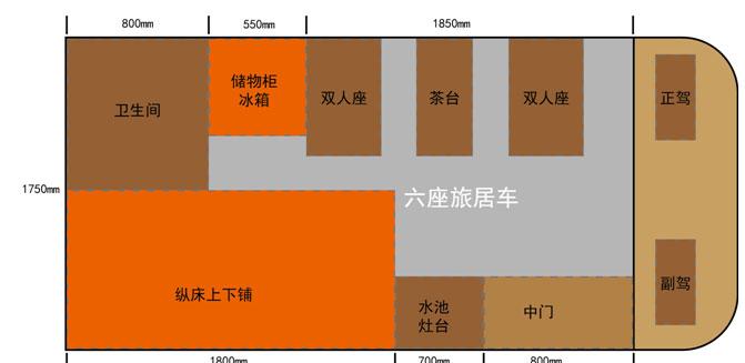 亚星欧睿房车6座版 (停售) 平面图